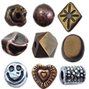 Antique Copper & Silver Acrylic Beads