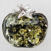 Imitate Amber Pendant With Metal Alloy Set, 46x43x14mm, Sold by Bag