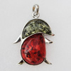 Imitate Amber Pendant With Metal Alloy Set, 62x51x14mm, Sold by Bag