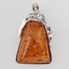 Imitate Amber Pendant With Metal Alloy Set, 59x39x15mm, Sold by Bag