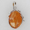 Imitate Amber Pendant With Metal Alloy Set, 49x31x15mm, Sold by Bag