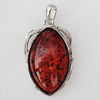 Imitate Amber Pendant With Metal Alloy Set, 59x33x13.5mm, Sold by Bag