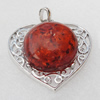 Imitate Amber Pendant With Metal Alloy Set, 47.5x45x14mm, Sold by Bag