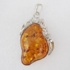 Imitate Amber Pendant With Metal Alloy Set, 57x35x14.5mm, Sold by Bag