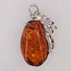 Imitate Amber Pendant With Metal Alloy Set, 57x35x12.5mm, Sold by Bag