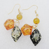 Imitate Amber Earring, 20x14x7mm Length 63mm, Sold by Bag
