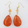 Imitate Amber Earring, 32x22x7mm Length 70mm, Sold by Bag