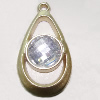 Plastic( ABS) Pendant with Acrylic Zircon, 45x24mm Hole:3mm Sold by Bag