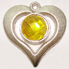 Plastic( ABS) Pendant with Acrylic Zircon, 37x35mm Hole:3mm Sold by Bag