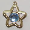 Plastic( ABS) Pendant with Acrylic Zircon, 42x37mm Hole:3mm Sold by Bag