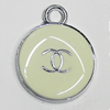 Zinc Alloy Enamel Pendant, Round 20x16mm Hole:3mm, Sold by Group