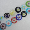 Millefiori Glass Beads Mix color,  Flat Round 8mm Sold per 16-Inch Strand