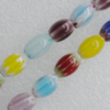 Millefiori Glass Beads Mix color,  Oval 15x10mm Sold per 16-Inch Strand