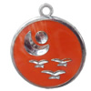 CCB plastic Pendant with enamel, Round 30x25mm Hole:3mm, Sold by Bag