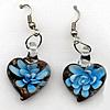 Inner Flower Handmade Lampwork Gold Sand Earring, Heart 20x26mm, Sold by Pair