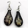 Inner Flower Handmade Lampwork Gold Sand Earring, Teardrop 31x17mm, Sold by Pair