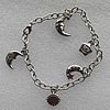 CCB Bracelet with iron chain, 15-22mm, Length:7.9 Inch, Sold by Strand