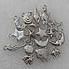 Jewelry findings CCB plastic beads Silver color Mix style Mix size 15x11mm-18x17mm, Sold by Group