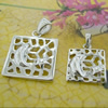 Sterling Silver Couples Pendant/Charm, 26.3x18mm  19.55x13.25mm Sold by Pair