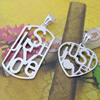 Sterling Silver Couples Pendant/Charm, 35x16mm  24x18mm Sold by Pair
