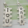 Sterling Silver Couples Pendant/Charm, 32.05x11.87mm  30.95x10.91mm Sold by Pair
