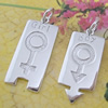 Sterling Silver Couples Pendant/Charm, 35x12.9mm Sold by Pair