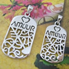 Sterling Silver Couples Pendant/Charm, 32.5x15.4mm  29.3x12.6mm Sold by Pair