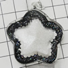 Acrylic Pendant With Colorful Powder, Star 47x42mm Hole:2mm, Sold by Bag