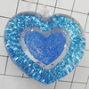 Acrylic Pendant With Colorful Powder, Heart 41x38mm Hole:2mm, Sold by Bag