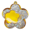Acrylic Pendant With Colorful Powder, Flower 55x50mm Hole:2mm, Sold by Bag
