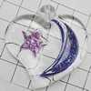Acrylic Pendant With Colorful Powder, Heart 45x46mm Hole:1mm, Sold by Bag