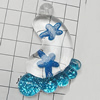 Acrylic Pendant With Colorful Powder, Feet 62x43mm Hole:1mm, Sold by Bag