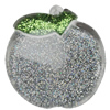 Acrylic Pendant With Colorful Powder, Apple 54x53mm Hole:3mm, Sold by Bag