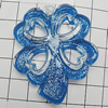 Acrylic Pendant With Colorful Powder, Flower 50x43mm Hole:3mm, Sold by Bag