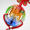 Chinese Knots Lampwork Glass Pendant for car Hang, 27x19x58mm, Sold by PC
