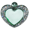 Acrylic Pendant With Colorful Powder, Heart 40x44mm, Sold by Bag