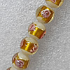 Gold Foil Lampwork Beads, Round 16mm Hole: About 1.5mm, Sold by PC