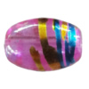 Drawbench Translucent Glass Beads, Oval 8x11mm Hole:1mm, Sold per 32-Inch Strand