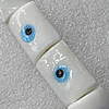 Turkish Handmade Lampwork Glass Evil Eye Beads, Rectangle 20x23mm Hole: About 1.5mm, Sold by PC