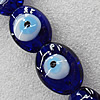 Turkish Handmade Lampwork Glass Evil Eye Beads, Flat Oval 33x24mm Hole: About 1.5mm, Sold by PC