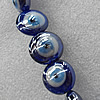 Turkish Handmade Lampwork Glass Evil Eye Beads, Flat Round 15mm Hole: About 1.5mm, Sold by PC