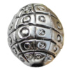 Jewelry findings, CCB plastic European style Beads  platina plated, Oval 25x21mm Hole:4mm, Sold by Bag