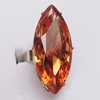 Cubic Zircon (C.Z) Finger Ring, Faceted Horse Eye 35x15mm Hole:17mm, Sold by Box