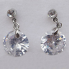 Cubic Zircon (C.Z) & Copper Platina Plated Earring, 12mm, Sold by Pair