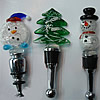 Lampwork Glass Bottle Stopper, 105x40mm-112x48mm, Sold by PC