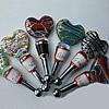 Lampwork Glass Bottle Stopper, Heart 102x46mm, Sold by PC