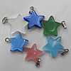 Cats Eye Pendant/Charm, Mix Color, Star 19mm, Hole:About 1MM, Sold by PC