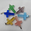 Cats Eye Pendant/Charm, Mix Color, Cross 19mm, Hole:About 1MM, Sold by PC