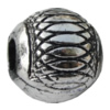 Jewelry findings, CCB plastic European style Beads Antique silver, Drum 14x15mm Hole:5mm, Sold by Bag