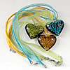 17-inch lampwork Necklace, Wax Cord & Organza Ribbon Transparent, Heart 37x40x14mm, Sold by Strand